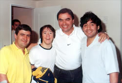 Daniel Valencia, Iván Blázques, Omar Verzellini y Diego Armando Maradona